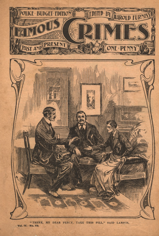 <p>Cover illustration in the &quot;penny dreadful&quot; of a scene in a drawing room.  Doctor Lamson sits facing his paralyzed brother-in-law, Percy John, who extends his hand to Lamson.  A third man sits between the two and observes the meeting.</p>