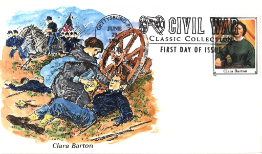 <p>Postcard featuring a color illustration of Clara Barton caring for a wounded soldier. She is wearing a dark dress with long sleeves and blue cuffs. Over her shoulders she has a dark cloak with a blue lining. She is holding the back of the soldier's head with her left hand and has a canteen in her right hand. There is a gun with an affixed bayonet on the ground beside the soldier. In the background there is a wagon wheel, another wounded soldier, a soldier on horseback, and a group of soldiers who are either standing or marching.</p>