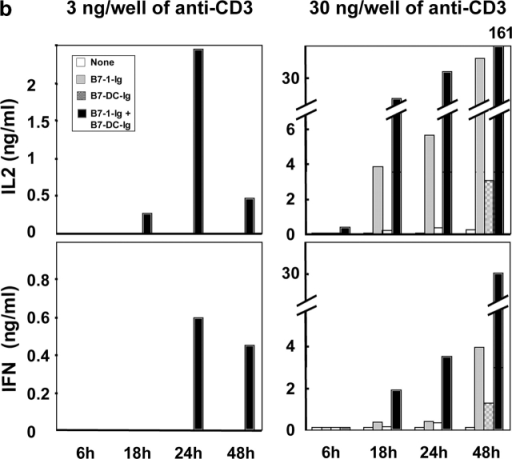 Immobilized B7-DC strongly costimulates CD4+ T cells and synergizes with B7–1. (a) FACS® analysis of CD40L expression. Purified CD4+ T cells were stimulated with 3 ng/well (left panel) or 30 ng/well (right panel) of precoated anti-CD3 in presence or absence of an equimolar amount of immobilized B7-DC-Ig and B7–1-Ig or the combination of both. Cells were harvested at indicated times, washed, and stained 30 min with PE-conjugated anti-CD40L mAb and FITC-conjugated anti-CD4 mAb. (b) Culture supernatants were collected at indicated times and assayed for cytokine secretion by ELISA when T cells were stimulated with 3 ng/well (left) or 30 ng/well (right) of immobilized anti-CD3 alone, in presence of plate bound B7-1-Ig, B7-DC-Ig, or both. Open bars, no costimulation; gray bars, B7-1-Ig; hatched bars, B7-DC-Ig; black bars, B7-1-Ig + B7-DC-Ig (c) B7-DC-Ig and B7-1-Ig titration. CD4+ T cells were stimulated with a constant amount of anti-CD3 (30 ng/well) in presence of increasing quantities of immobilized B7-DC-Ig and/or increasing amount of B7–1/2-Ig. Symbols: black squares, no B7–1/2-Ig; black circles, 25 ng/ml B7–1-Ig; open circles, 50 ng/ml B7–1-Ig; black triangles, 25 ng/ml B7–2-Ig; open triangles, 50 ng/ml B7–2-Ig. (d) Immobilized B7-DC-Ig costimulates preactivated CD4+ T cells as well as resting T cells. Purified CD4+ T cells freshly isolated from spleens or preactivated 2 d with plate-bound anti-CD3 (30 ng/well), were stimulated with immobilized anti-CD3 (30 ng/well) in the presence or absence of immobilized B7–1-Ig and/or B7-DC-Ig. Open bars, no costimulation; gray bars, B7–1-Ig; hatched bars, B7-DC-Ig; black bars, B7–1-Ig + B7-DC-Ig. Cytokine release was measured by ELISA on 24 h culture supernatants.