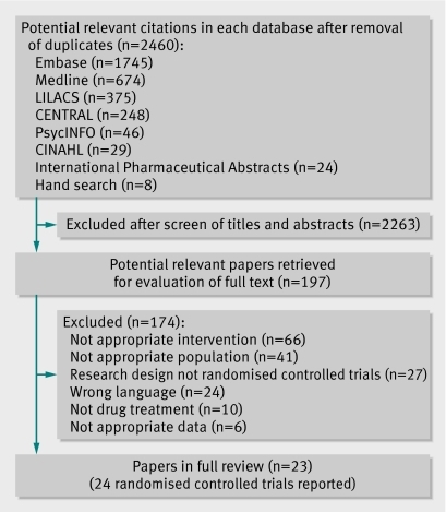 Fig 1 Selection process of trials examining pain relief in patients with sciatica