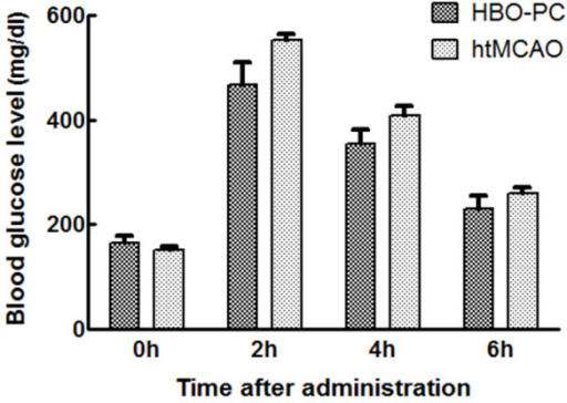 Hyperbarc preconditioning had no effect on blood glcose levels at 4 time-points. Blood was obtained from the tail vein for analysis of blood glcose before, 2 h, 4 h, and 6 h after administration of dextrose. There were not significant differences in the time course of blood glucose levels between HBO-PC group and htMCAO group.