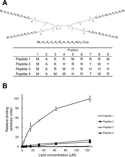 Identification of PA-binding peptide motif using tetravalent peptide libraries.(A) The tetravalent peptide library was comprised of compounds with 4 randomized peptides of sequence M1-A2-X3-X4-X5-R6-X7-X8-X9-AU (U; amino hexanoic acid), where X at positions 3–5 and 7–9 indicates any amino acids except cysteine. Screening of the library was performed to identify compounds that bound to vesicles containing PA but not to vesicles without PA. Sequences of PA binding peptides (peptide 1 to 4) were determined by comparing relative abundance of amino acids in each degenerate position of PA-, PC-, and PS-bound peptides. (B) Binding of the tetravalent peptides to LUVs composed of DOPA/DOPC/biotin-DOPE/cholesterol (10:58:2:30) was examined by the SPVB assay (mean ± SE, n = 3). The binding of LUVs at the concentration of 125 μM to peptide 3 was represented as 100 (arbitrary units).
