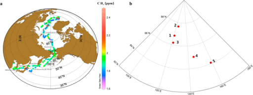 (a) Spatial distribution of atmospheric CH4 (ppm). (b) Experimental sites for CH4 flux measurements at the short-term ice stations during CHINARE 2012. Base map is from Ocean Data View (v. 4.0, Reiner Schlitzer. Alfred Wegener Institute for Polar and Marine Research, Bremerhaven, Germany).