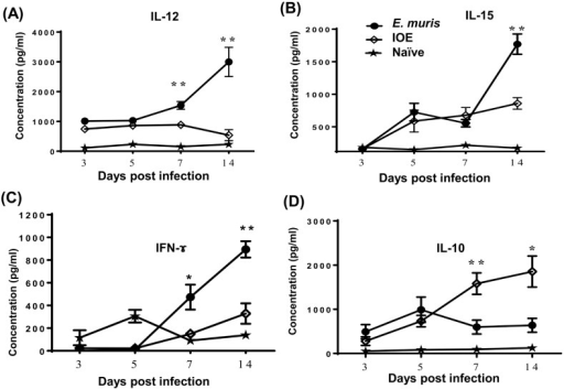 E. muris induces an optimal cytokine environment that promotes induction and maintenance of memory-like NK cells.Cultured supernatants of liver mononuclear cells (LMNCs) harvested 3, 5, 7 and 14 DPI from E. muris-primed mice and stimulated in vitro with E. muris Ag contained significantly higher levels of IL-12 (A), IL-15 (B) and IFN-γ (C) compared to LMNCs from naïve mice and IOE-primed mice. On the other hand, LMNC culture supernatant from IOE-primed mice contained higher levels of IL-10 as compared to naïve mice and E. muris-primed mice (D). *, ** indicate P < 0.05 and P < 0.01, respectively. Data are presented as the means ± SD of 3 mice/ group and are representative of two independent experiments.