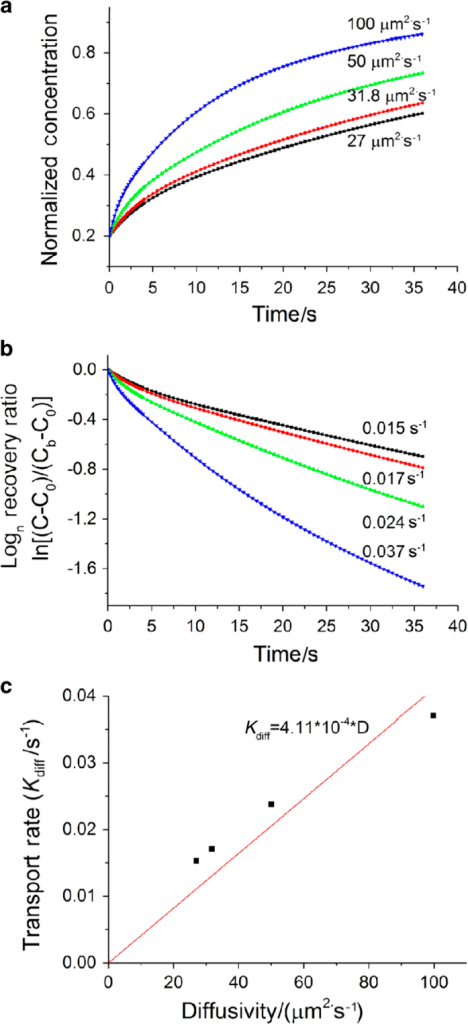 The tracer concentration (a) and the logarithm of the recovery rate (b) at the FRAP site under non-loaded condition using the segment biphasic model. (c) The model correctly predicted the nearly linear relationship between the transport rate and diffusivity in agreement with theoretical predictions (Wang et al.16).