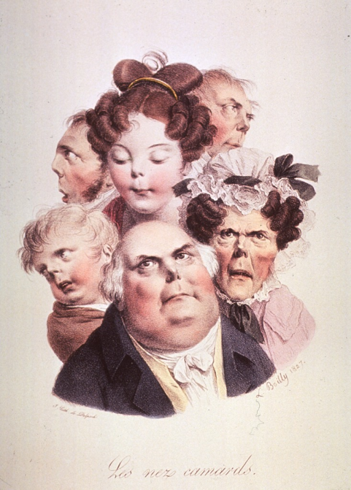 <p>Caricature of the physiognomy of the human nose; group of three men, two women, and a child.</p>