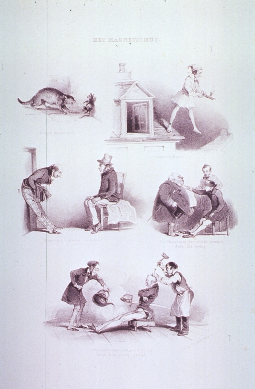 <p>Caricatures, five vignettes:  Among which are a cat and a mouse; a somnambulist walking off a roof; and a man with a sword run through his stomach, hot water poured on his legs, and a nail being driven into his head.</p>