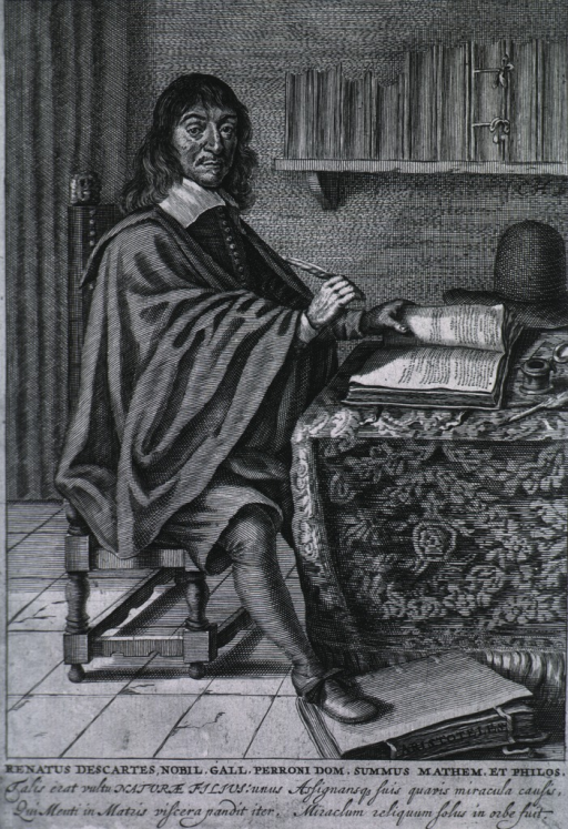 <p>Full length, seated, right pose, one hand on open book, other hand holding a quill pen.</p>