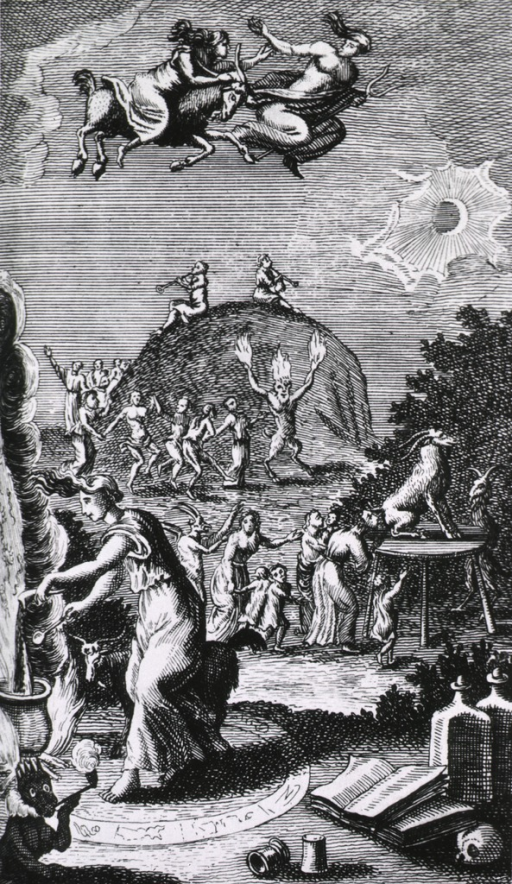 <p>A woman stands in a circle of symbols with a goat, she pours a substance from a goat horn into a cauldron on an open fire; goat worshipping and dancing are taking place in the background; a woman on a goat and a man on a trident fly overhead.</p>