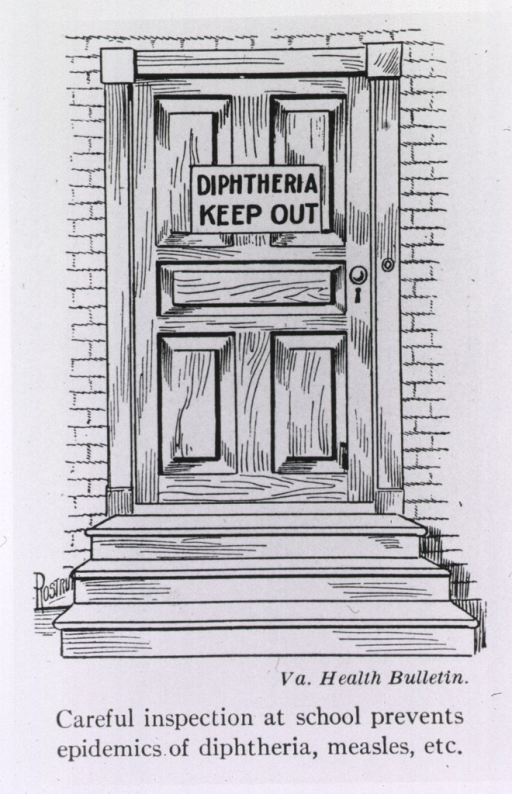 <p>Exterior view: a sign posted on a door states, Diphtheria  Keep Out.</p>