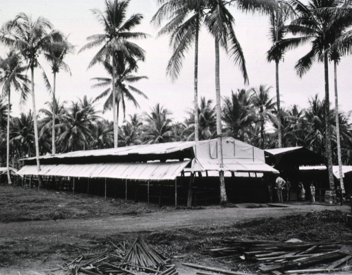 <p>A group of men stands in front of a long, open-air building set amidst palm trees.</p>