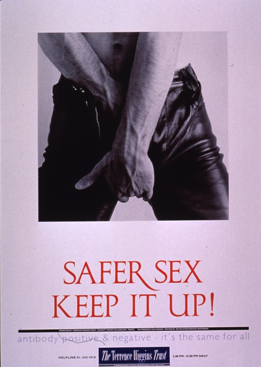 <p>The poster shows a black and white photo reproduction of a young man from the waist to his thigh. His leather pants are unzipped and his hands are covering the crotch area. The title and remainder of the poster information are in red and blue print at the bottom of the poster.</p>