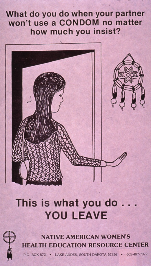 <p>Predominantly pale pink poster with black lettering.  Title at top of poster.  Visual image is an illustration of a young woman heading toward an open door; she has one hand slightly raised, as if saying no.  Caption below illustration.  Publisher information at bottom of poster.</p>