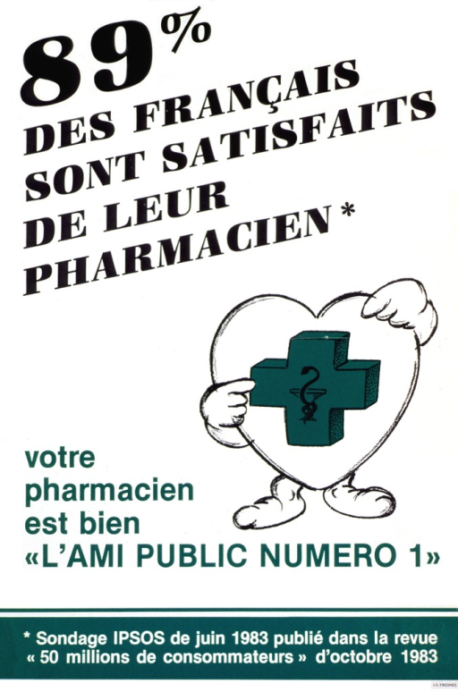 <p>White poster with multicolor lettering.  Title in upper left corner.  Visual image is an illustration of a cartoon-character heart that points to the green pharmacy symbol on its front.  Caption near lower left corner refers to the pharmacist as the number one friend of the public.  Note at bottom of poster supplies the source for the statistic given in the title.</p>