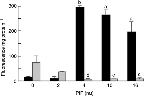 Effect of PIF on the chymotrypsin-like enzyme activity in C2C12 myotubes in the absence (black boxes) or presence (grey boxes) of 50 μM EPA (grey boxes). The data are expressed as mean±s.e.m. where n=9 and the values represent the activity inhibited by 10 μM lactacystin. The differences from control are indicated as a, P<0.05 and b, P<0.001, while differences in the presence of EPA are indicated as c, P<0.05 and d, P<0.001.