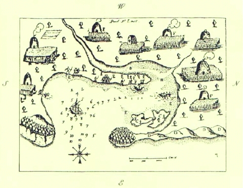 Plymouth, Massachusetts, harbor showing extensive Native American settlement (a sketch by Samuel de Champlain from his voyage of 1606).