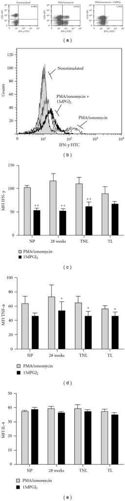 Effect of 15dPGJ2 on Th1 and Th2 cytokines. Peripheral blood mononuclear cells were incubated with vehicle control or 32 μM of 15dPGJ2 and stimulated with PMA/ionomycin before being gated on the lymphocyte population according to forward and side scatter. A representative 28-week patient sample is presented with CD4+/IFN-γ+ cells shown in the right upper quadrant (a). A representative histogram reveals a clear shift to the right upon stimulation indicative of increased IFN-γ producing cells (b). This effect was attenuated with 15dPGJ2 pre-treatment. PMA/ionomycin induced IFN-γ and TNF-α production was decreased with 15dPGJ2 treatment (c) and (d); however, levels of IL-4 remained unchanged. No change in IL-4 producing cells was detected (e). For statistical analysis a Student's t-test was used to compare means between paired treated and nontreated samples; **P < 0.01 and *P < 0.05.