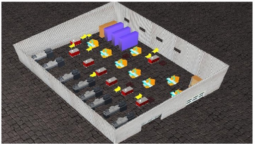 3D representation of industrial hall B.