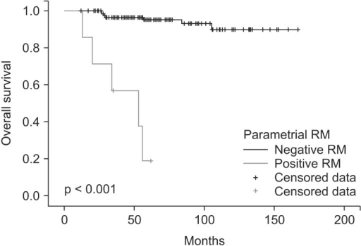 Overall survival for 7 patients with positive or close parametrial resection margin (RM) and 128 patients without positive or close parametrial RM.