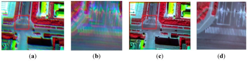 The CIR composite (infrared, red, green); (a) the unregistered multispectral image; (b) the enlarged partial region of (a); (c) the registered multispectral image; (d) the enlarged partial region of (c).