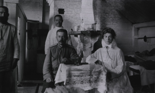 <p>A nurse and three of the medical personnel at Military Hospital No. 75.</p>