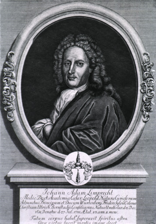 <p>Head and shoulders, left pose, full face; in oval on pedestal; coat-of-arms.</p>