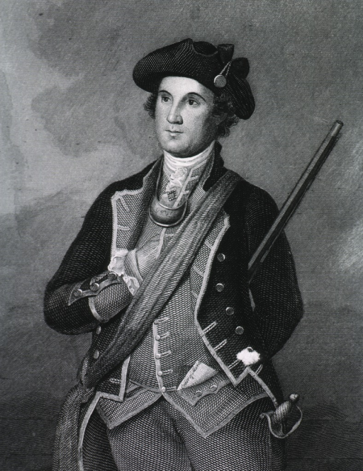 <p>Standing, three quarter length, arm in vest and cockade hat.</p>