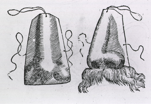 <p>Two noses made of leather(?) with strings for attachment; one model includes a mustache.</p>