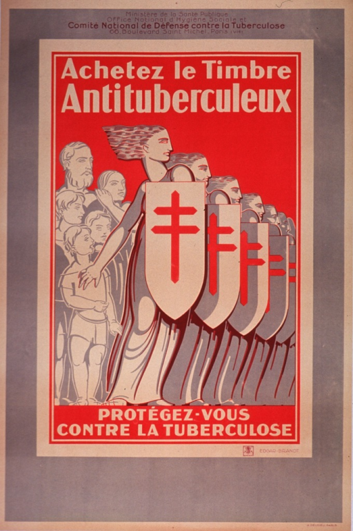 <p>Olive and red poster with black and white lettering.  Publisher information at top of poster.  Initial title phrase below publisher information.  Visual image is a slightly abstract illustration of seven women standing in profile and holding shields that bear the Cross of Lorraine.  A family stands behind one of the women, as if she is protecting them.  Remaining title text below illustration.</p>
