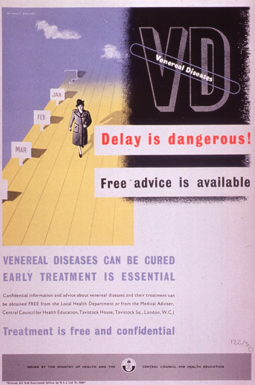 <p>Multicolor poster.  Note in upper right corner.  Visual image is an illustration of a woman walking past a series of signs labeled Jan., Feb., and Mar.  Title next to illustration.  Caption below illustration.  Publisher information at bottom of poster.</p>