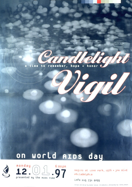 <p>Predominantly green poster with multicolor lettering.  Visual image dominates poster.  Image is a reproduction of a photo contrasting darkness and glowing candles.  Title superimposed on photo at center of poster.  Note superimposed on bottom of photo.  Bottom of poster features logistical information about the vigil and publisher information.</p>
