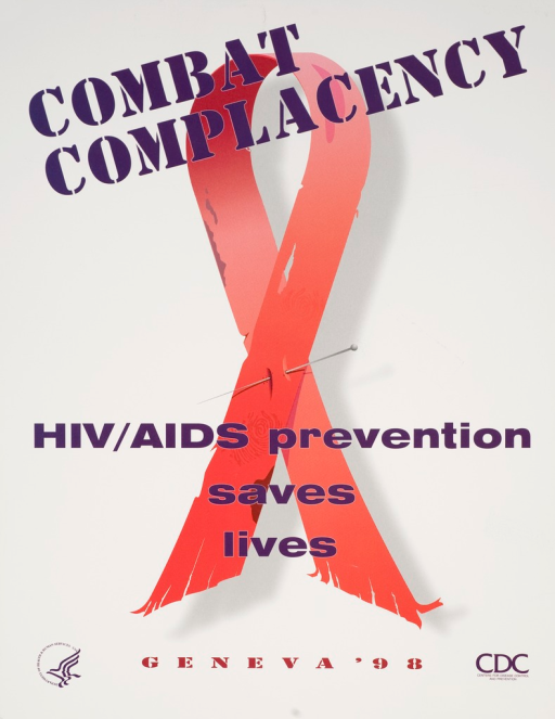 <p>Predominatly white poster with purple and red lettering. Visual image is a red AIDS ribbon. The ribbon is worn and held together with a sewing needle. There are fingerprints above and below the needle. Title above image. Remainder of title near bottom of image. Note below image. Publisher information at bottom of poster.</p>