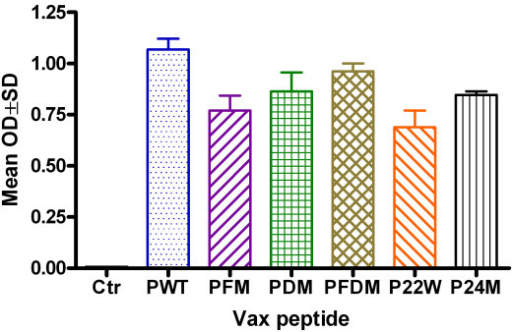Antibody detection after 3 inoculations with different Aβ peptides. Note: ELISA result for antibody detection at 1:1024 dilutions using Aβ1–42 wild type as capture antigen at 10 μg/ml (50 μl/well) (n = 4 in each group). Ctr = Control, PWT = Wild type Aβ1–42, PFM = Aβ1–42 with Flemish mutation, PDM = Aβ1–42 with Dutch mutation, PFDM = Aβ1–42 with Flemish and Dutch mutation, P22W = Aβ1–42 with novel mutation at 22, P24M = Aβ1–42 with novel mutation at 24 amino acid.
