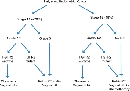 Potential utility of FGFR2 mutation status as an adverse prognostic factor to affect clinical decision-making.The decision tree is adapted from 2011 National Comprehensive Cancer Network guidelines using FIGO 2009 staging. BT = brachytherapy; RT = radiation therapy.