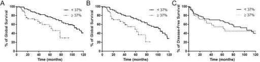 Expression of HOXA1 is associated with shortened overall survival of patients with OSCC. (A) The overall survival analysis according to the Kaplan-Meier method for HOXA1 immunoexpression revealed that high HOXA1 expression is associated with poor prognosis with a 5-year survival of 55.5% (p = 0.0073). (B) Disease-specific overall survival for patients with high expression of HOXA1 was even shorter (p = 0.0048). (C) Five-year disease-free survival was not associated with HOXA1 immunoexpression in OSCC tumors (p = 0.27).