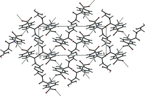 The molecular packing of the title compound with hydrogen bonding shown as dashed lines.