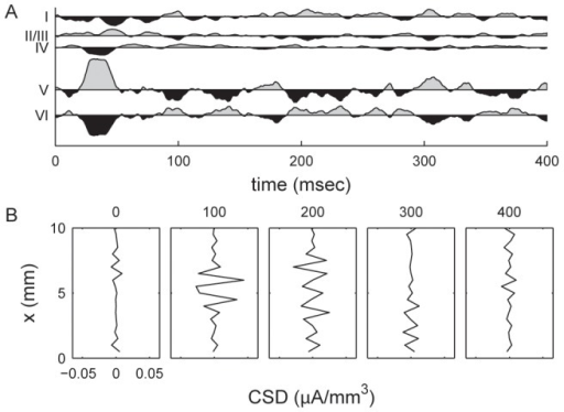 Current source densities (CSD) generated by the LCM.Shown are (A) CSDs for the central elements of each cortical layer, and (B) temporal profile for current source density of the central line of layer IV (see Figure 6). The CSD plots show the difference between CSD at each time point and the mean value in the entire epoch. Time values are in milliseconds after the onset of transient LGN input. A positive CSD value indicates a current source. Results are calculated from the same dataset as Figure 6.
