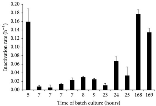 "Estimated inactivation rates and standard error of the estimate (error bar) of ""stationary phase"" E. coli during lactic acid stress (150 mM HLac, pH = 4.6, aw = 0.92) at 27°C. Data represents results from inactivation experiments with bacteria harvested after varying times of batch culturing in TSB at 37°C."