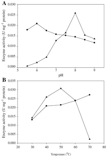 Effect of pH (A) and temperature (B) on the activity of XR (circle) and XDH (triangle) present in crude cell-free extract obtained from inducedC. sorokiniana. The induced algal cells were washed with sterile distilled water and re-suspended in 8 mg DCW per mL in 50 mL minimal medium supplemented with 5 mM KNO 3 and 40 mM D-xylose under light for 24 hours.