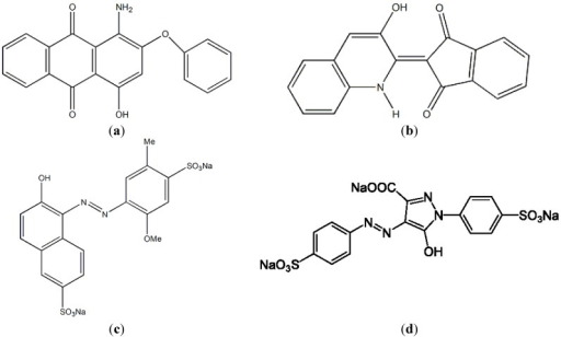 Chemical structures of disperse dyes and food colorants. (a) disperse red 60; (b) disperse yellow 54; (c) Allura Red AC; (d) Tartrazne.