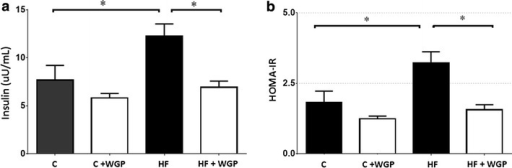 WGP prevents insulin resistance in HF fed rats. a Insulin was measured using a radioimmunoassay in control (C), control + WGP (C + WGP) high fructose (HF) and high fructose + WGP (HF + WGP) fed animals. b HOMA was calculated from insulin values shown in this figure and glucose values obtained at the same time points. Bars represent mean ± SEM for n = 6–8 rats in each group. *P < 0.05 HF vs. other groups. Bonferroni after one way ANOVA