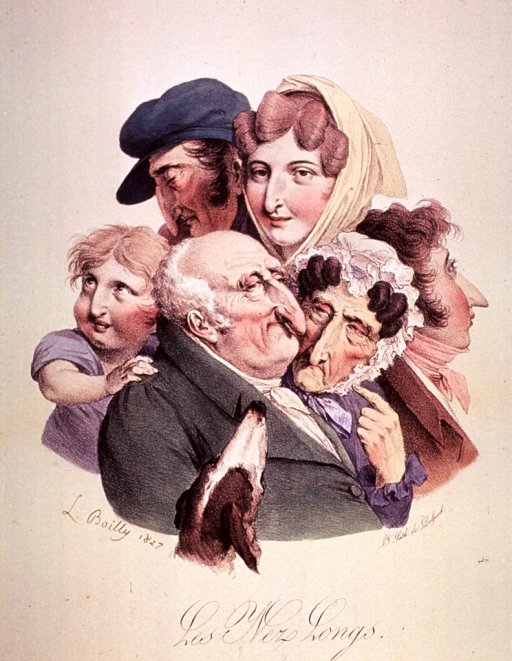 <p>Caricature of the physiognomy of the nose; group of three men, two women, a child and a dog.</p>