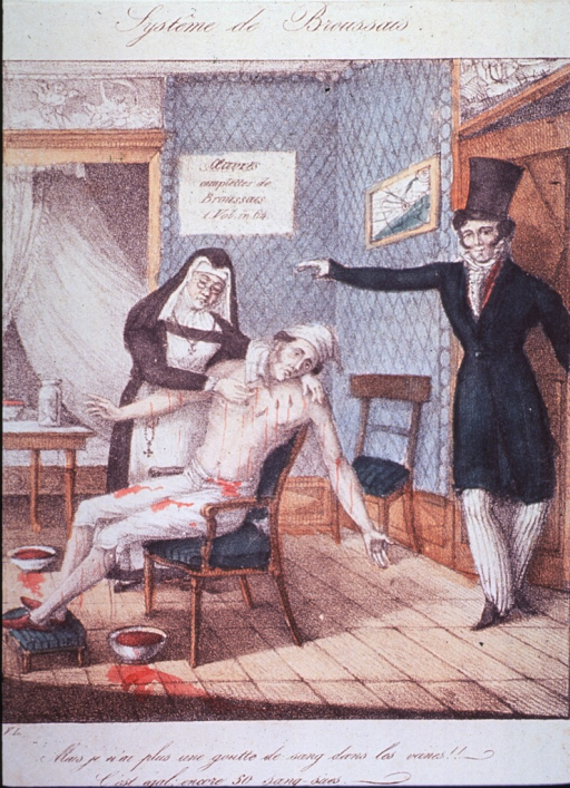 <p>Interior view:  A man sitting in chair, arms outstretched, streams of blood pouring out as a nun places leeches on his body; a man (Broussais) stands in the doorway wearing top hat and coat; sign on the wall reads: Oeuvres completes de Broussais.</p>