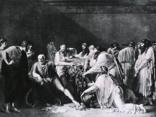 <p>Hippocrates seated, D'Artaxerces pouring money at his feet.</p>