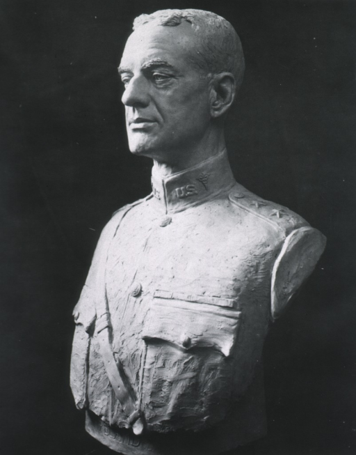 <p>Model bust:  head and shoulders, left pose; wearing uniform.</p>