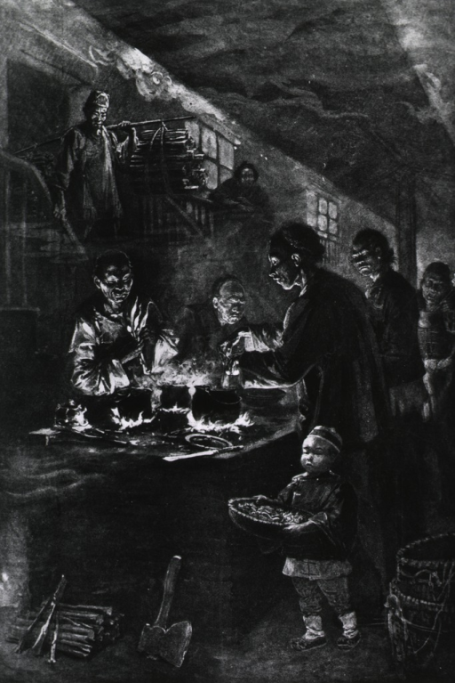 <p>The bubonic plague in San Francisco. Chinamen, confined within the chinese quarter, cooking their meals.</p>