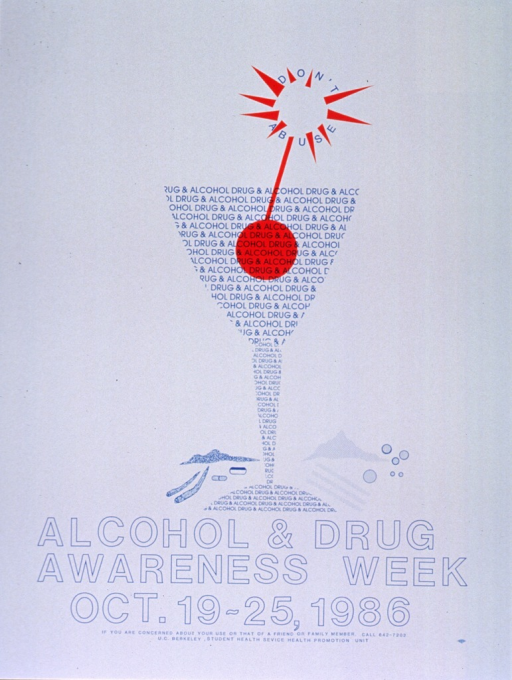 <p>White poster with bright blue lettering.  Visual image dominates upper portion of poster.  Image is a depiction of stemmed glass with a swizzle stick, surrounded by illustrations of marijuana cigarettes, pills, and piles and lines suggestive of cocaine.  The stemmed glass is formed by the repetition of the phrase &quot;Drug &amp; Alcohol.&quot;  Note incorporated into top of swizzle stick.  Title below image.  Phone number for concerned students and publisher information at bottom of poster.</p>