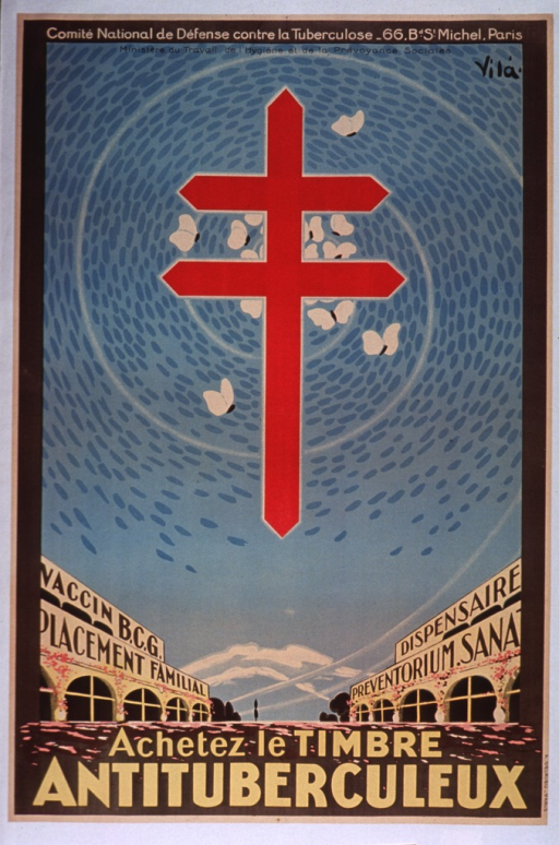<p>Multicolor poster.  Publisher information at top of poster.  Visual image is an illustration of a street with arcade-style buildings on each side.  Signs on buildings refer to the BCG vaccine for tuberculosis, family placement, a dispensary, and possibly a preventive health service or facility.  A large red Cross of Lorraine appears in the sky above the street, surrounded by butterflies.  Title superimposed on bottom of illustration.</p>