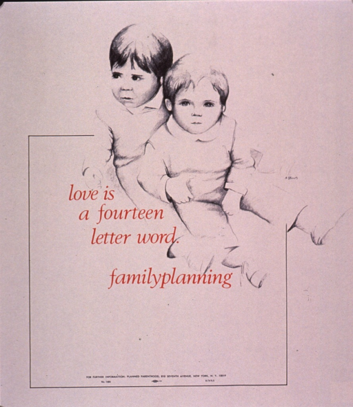 <p>Predominantly cream poster with red and black lettering.  VIsual image is a drawing of two very young children.  The smaller child sits between the legs of the larger child.  Title to left of drawing, near center of poster.  Publisher information at bottom of poster.</p>