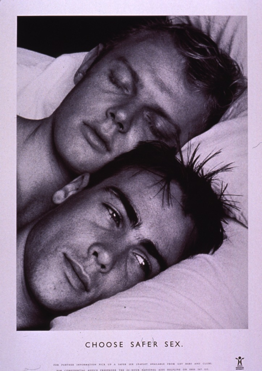 <p>Predominantly white poster with black lettering.  Visual image is a b&amp;w photo reproduction featuring the heads of a male-male couple as they lie in bed.  One man appears to be asleep and the other is awake.  Title below photo.  Information about a leaflet and a hotline number at bottom of poster.  Publisher information in lower right corner.</p>